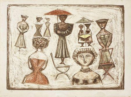 Litografía Campigli - Passeggiata Romana