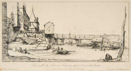 Grabado Meryon - Passerelle du Pont-au-Change, Paris, après l'incendie de 1621