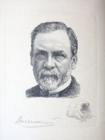 Grabado Bracquemond - Pasteur et les pastoriens.  Avec un portrait à l'eau-forte par Bracquemond
