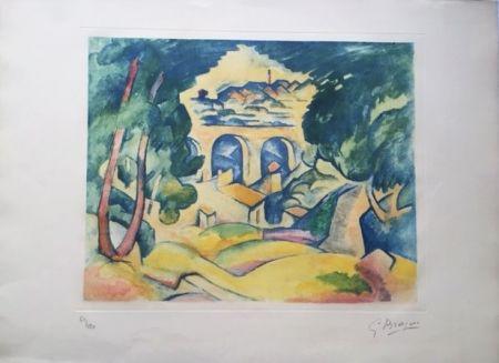 Aguatinta Braque - Paysage à l'Estaque (Le Viaduc de l'Estaque)