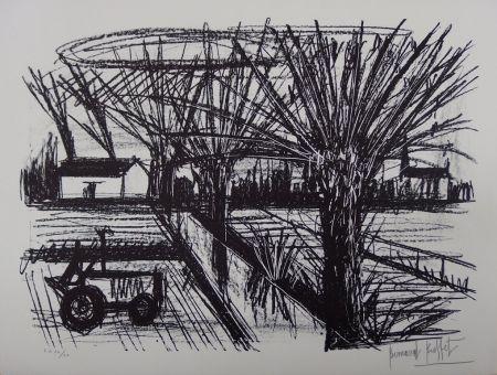 Litografía Buffet - Paysage breton au tracteur