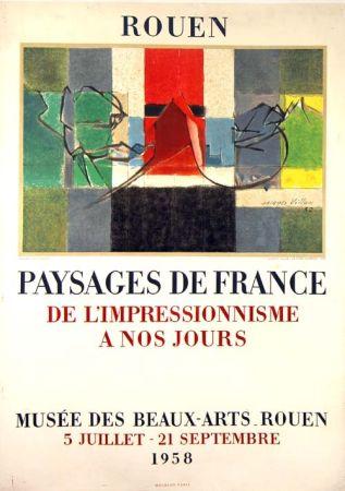 Litografía Villon -  Paysage de France  Rouen