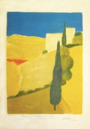 Litografía Cathelin - Paysage de Toscane