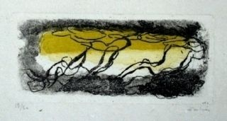 Aguafuerte Y Aguatinta Fautrier - Paysage jaune et violet