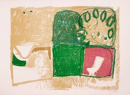 Litografía Kimura - Paysage vert et violet