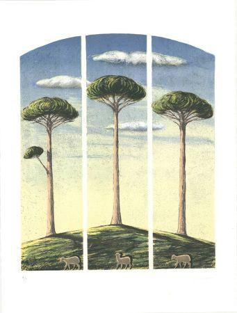 Litografía Lazzeri - Pecore al albero