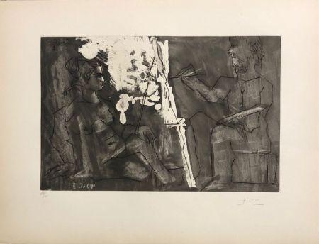 Aguatinta Picasso - Peintre à son chevalet, avec un modèle assis