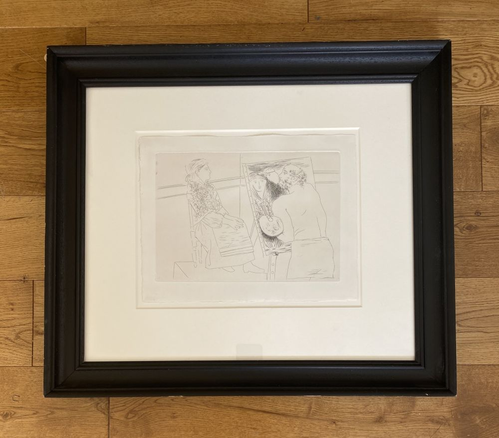 Grabado Picasso - Peintre Chauve devant son Chevalet
