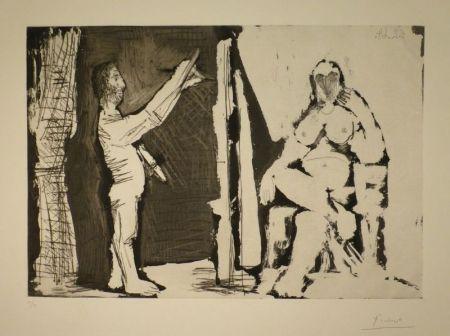 Aguafuerte Y Aguatinta Picasso - Peintre debout et modèle