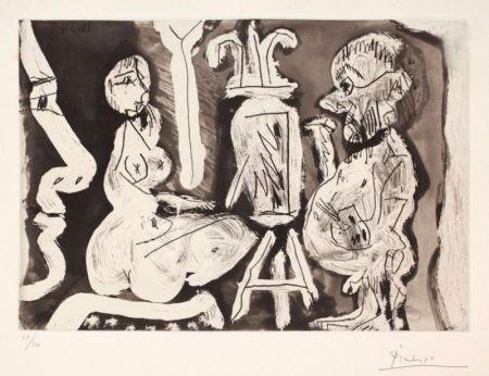 Aguafuerte Y Aguatinta Picasso - Peintre et modèle avec spectateur