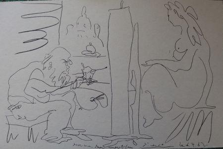 Litografía Picasso - Peintre et modèle dans l'atelier