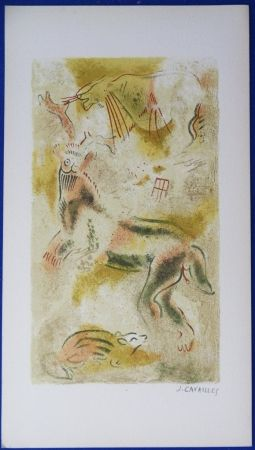 Litografía Cavailles - Peintures rupestres