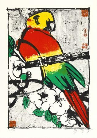 Litografía Tongzhengang - Perroquet fond blanc
