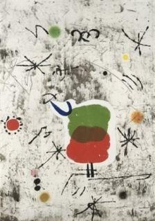 Aguafuerte Y Aguatinta Miró - Personatge I Estels I