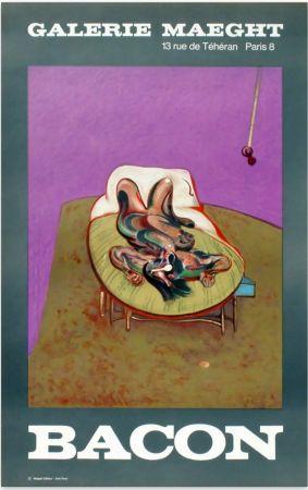 Litografía Bacon - PERSONNAGE COUCHÉ. Affiche en lithographie (1966).