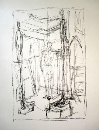 Litografía Giacometti - Personnage dans l'atelier