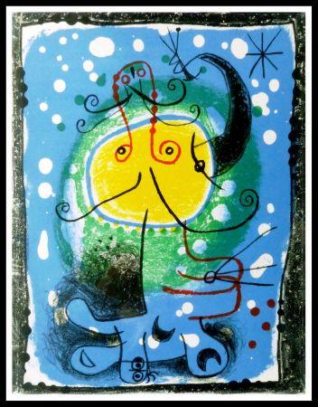 Litografía Miró - PERSONNAGE SUR FOND BLEU