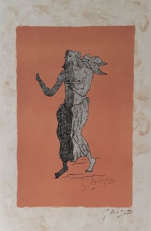 Litografía Braque - Personnage sur fond rose
