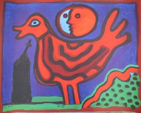 Litografía Corneille - Petit oiseau rouge