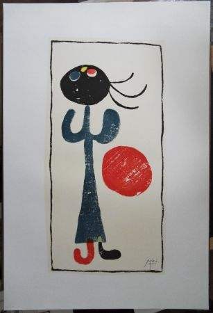 Litografía Miró - Petite fille au ballon rouge