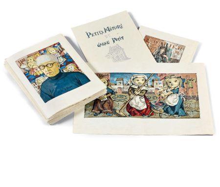 Libro Ilustrado Foujita - PETITS MÉTIERS ET GAGNE-PETIT. Avec suite couleurs et soie signée (1960)
