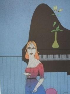 Grabado Wunderlich - Pianiste