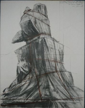 Litografía Christo - PIAZZA DEL DUOMO MILAN