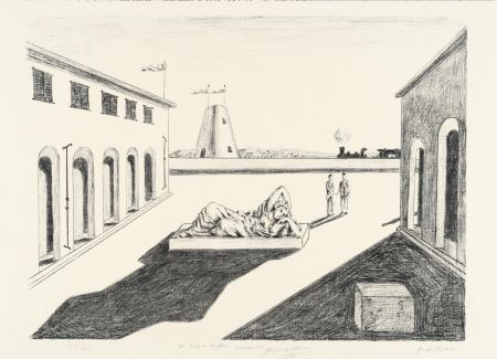 Litografía De Chirico - Piazza d'Italia