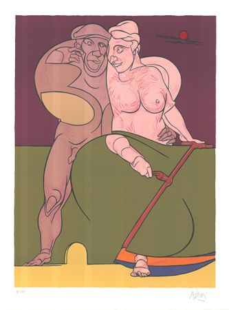 Litografía Adami - Picasso et la femme neo-classique