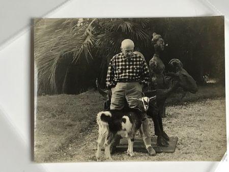 Fotografía Quinn - Picasso et sa chèvre devant la fameuse sculpture