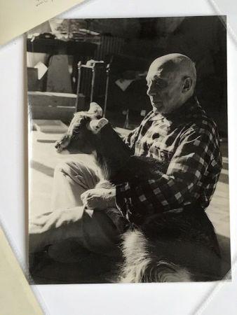Fotografía Quinn - Picasso sa chèvre dans les bras à la Californie