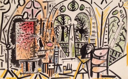 Litografía Picasso (After) - Picasso's Sketchbook No 15 date 1/11/1955