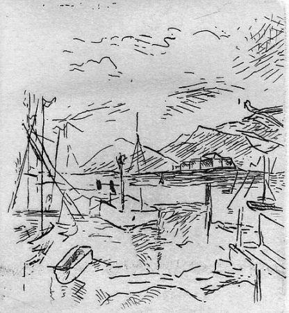 Grabado Carra - Piccolo molo I, 1924