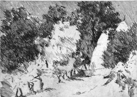 Aguafuerte Castellani - Piccolo paesaggio a Reforzate