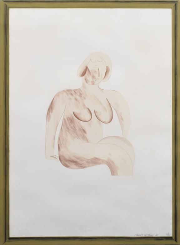 Litografía Hockney -  Picture of a Simple Framed Traditional Nude Drawing