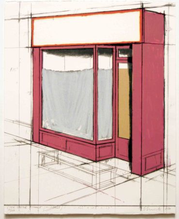 Litografía Christo - Pink Store Front, Project from Marginalia