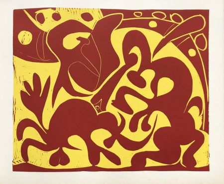 Linograbado Picasso (After) - Pique Rouge et Jaune