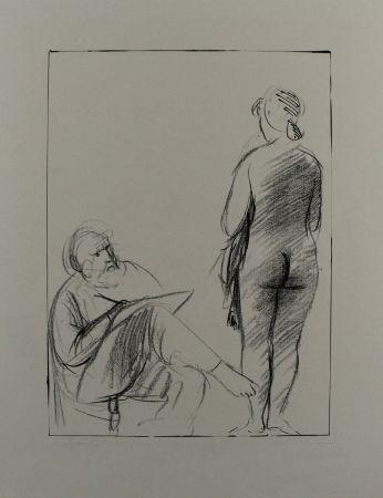 Litografía Manzu - Pittore e modella