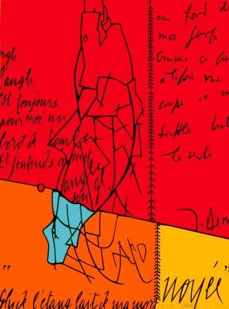 Litografía Adami - Placard Derrida