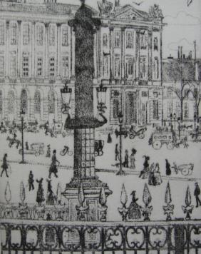 Grabado Vrieslander - Place de la Concorde