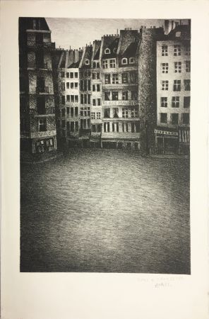 Litografía Avati - PLACE MAUBERT (1951)