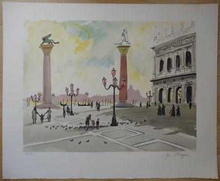 Litografía Brayer - Place Saint Marc à Venise