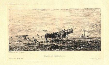 Grabado Daubigny - Plage de Villerville