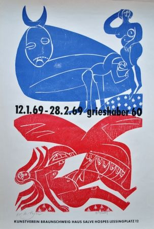 Litografía Grieshaber - Plakat Braunschweiger Kunstverein 1969