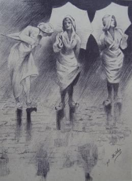 Litografía Dillon - Pluviôse / Rainy