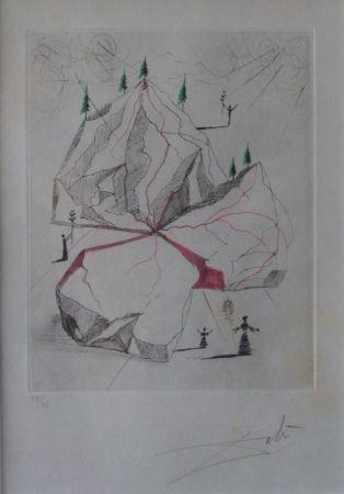 Aguafuerte Dali - Poèmes de Mao Tse-Toung : Montagne de la Paix