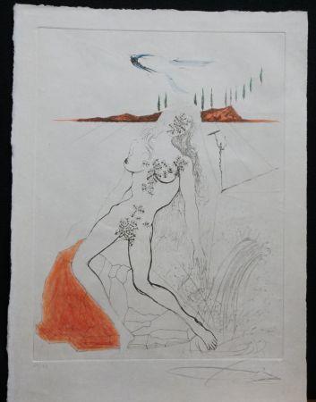 Grabado Dali - Poems Secrets Nude at The Fountain