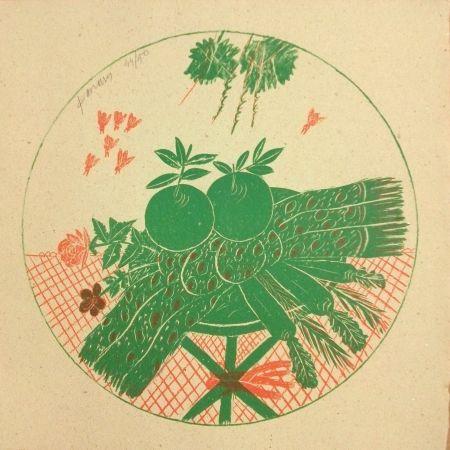 Litografía Fassianos - Pommes et foulard