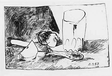 Litografía Picasso - Pommes, Verres et Couteau