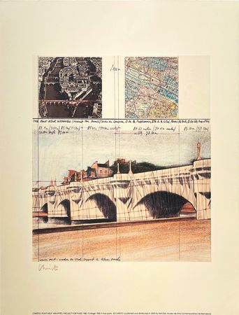 Litografía Christo - Pont neuf, Paris